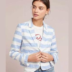 Anthropologie Ett Twa Stripe Linen Jacket
